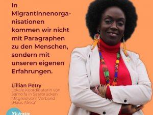 Lillian Petry – Flüchtlingsarbeit mit Fluchthintergrund und MigrantInnen Selbstorganisationen